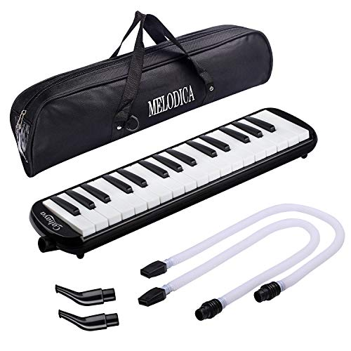 (CAHAYA Melodica FDA Approved 2 Double Mouthpieces Tube Sets Pianica Melodicas Piano Style 32 Key Portable with Carrying Bag [New Version])