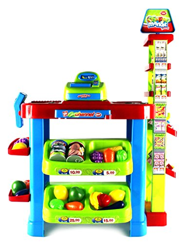 VT Fun Super Market Pretend Play Toy Market Play Set w/ Toy Cash Register, Working Scanner, Shopping Cart, Pretend Food and Money