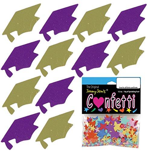 Confetti Grad Cap Gold, Purple Combo - 4 Half Oz Pouches (2 oz) FREE SHIPPING --- (8404/8412) ()