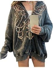 Dames Y2k Esthetische Full-Zip Hoodie Gezicht Portret Print Oversized Sweatshirt E-Girl 90s Baggy Lange Mouwen Jas