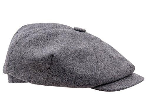 [Sterkowski Wool 4 Quarters Crown Flat Cap Vintage Style US 7 7/8 Light grey] (Hats 4 U)