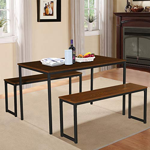 LENTIA Dining Table with Two Benches 3 Piece Set