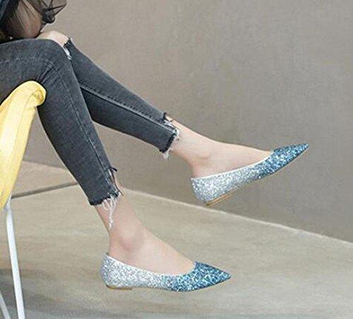 KUKI Mode Spitze einzelne Schuhe flachem Mund Pailletten Komfort flache Schuhe , 2 , US5.5 / EU35 / UK3.5 / CN35
