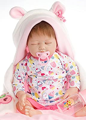 SanyDoll Reborn Baby Doll Soft Silicone 22inch 55cm Magnetic Lovely Lifelike Cute Lovely Baby Hobby Collection