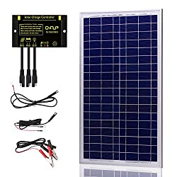 SUNER POWER 30 Watts 12V Off Grid Solar Panel Kit - Waterproof 30W Solar Panel + Photocell 10A Solar Charge Controller with Work Time Setting + SAE Connection Cable Kits