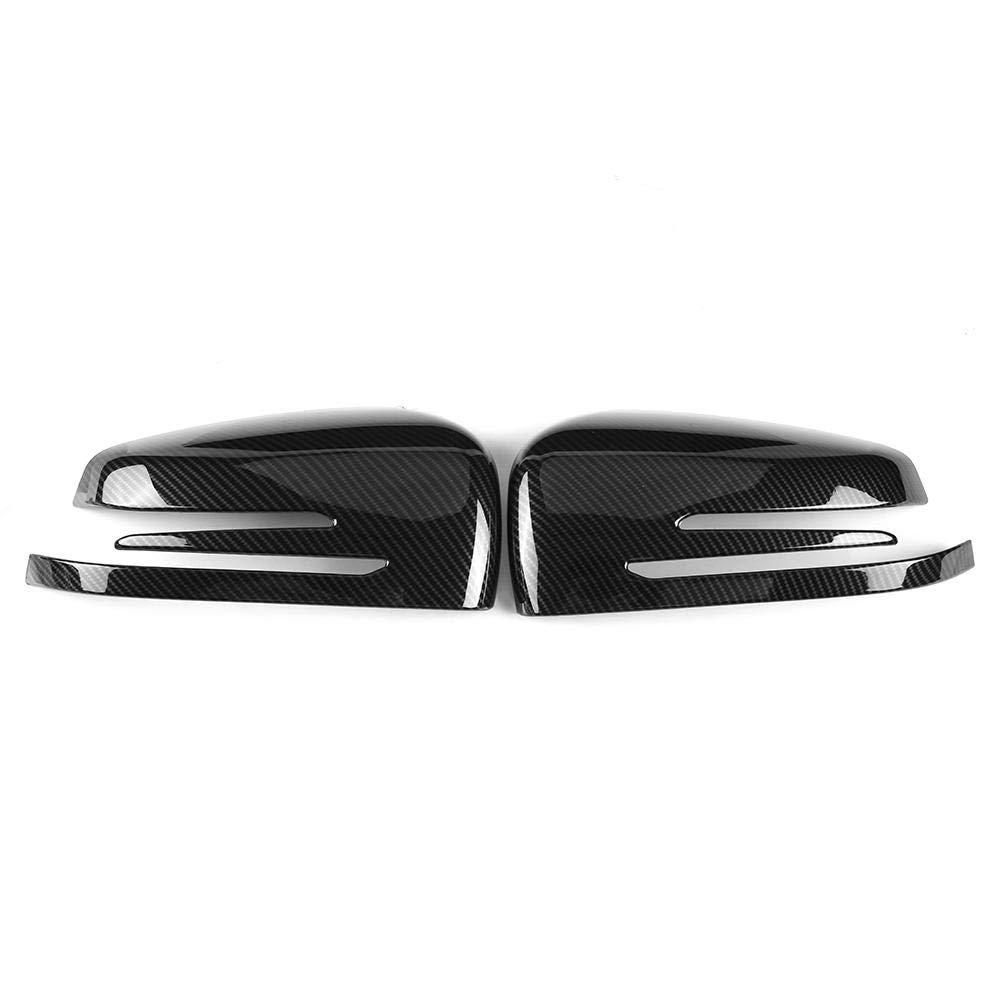KIMISS Rearview Mirror Cap Cover Trim for Mercedes Benz A B C E GLA Class W204 W212, Carbon Fiber(Black) Carbon Fiber( Black)