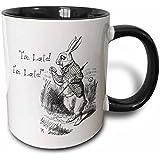 3dRose mug_193791_4 Alice in Wonderland White Rabbit I'm Late John Tenniel Illustration Two Tone Black Mug, 11 oz, Black/White