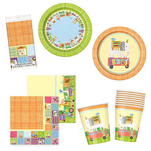 Unique Circus Animal Party Bundle   Luncheon & Beverage Napkins, Dinner & Dessert Plates, Table Cover, Cups   Great for Carnival Birthday Themed Parties by Unique
