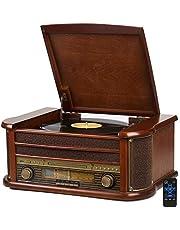 Nostalgie Holz Musikanlage | Kompaktanlage | Retro Stereoanlage | Plattenspieler | Radio | CD MP3 Player USB | Fernbedienung | MP3-Encoding: Aufnahmefunktion AUX IN | Lautsprecher | hochwertiges Holz