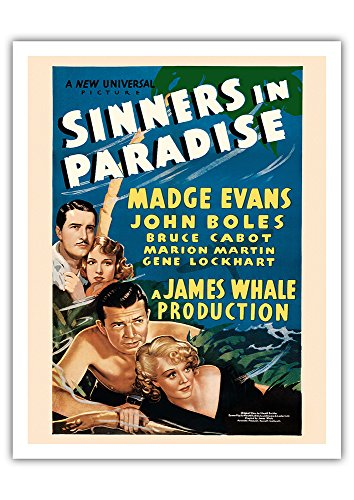 Pacifica Island Art Sinners in Paradise - Starring Madge Evans, John Boles - Universal Pictures - Vintage Film Movie Poster c.1938 - Fine Art Print - 11in x (1938 Vintage Movie Photo)