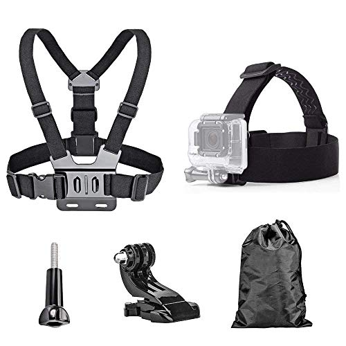 Harness Action (TEKCAM Action Camera Head Strap Chest Harness Belt Mount with Carrying Pouch Compatible with Gopro Hero 7 6 5/AKASO EK7000 Brave 4 V50/Crosstour 4k/Campark/DBPOWER/Dragon Touch Waterproof Camera)