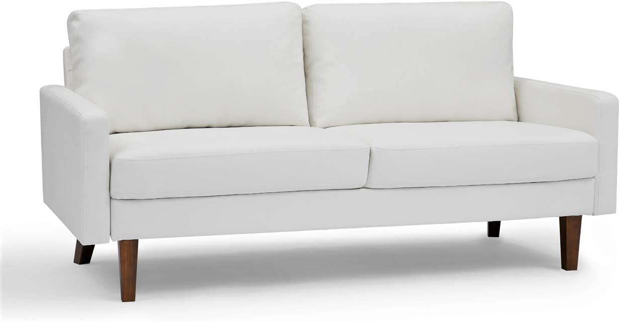 """Container Furniture Direct Pantaleon Mid Century Modern Faux Leather Living Room Sofa, 69.7"""", Gream White"""