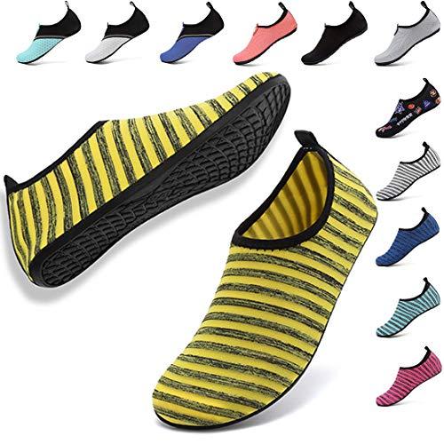 VIFUUR Unisex Quick Drying Aqua Water Shoes Pool Beach Yoga Exercise Shoes for Men Women Stripe Yellow 40/41