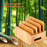 Charging Station 4-Ports for Multiple Devices – LEVIN Natural Bamboo Charging Station Rack Dock Organizer Eliminate Clutter for Smart Phones, Tablets and More
