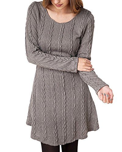 Lihuang Women's Crewneck Knitted Long Sleeve Sweater Dress GREY-5XL