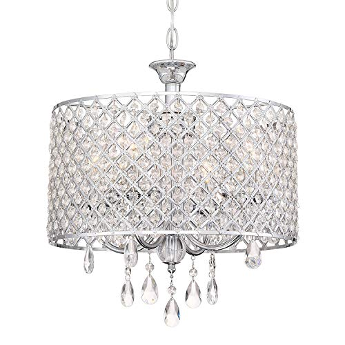 Kira Home Briolette 16 4-Light Modern Chic Crystal Chandelier Round Beaded Drum Shade, Adjustable Height, Chrome Finish