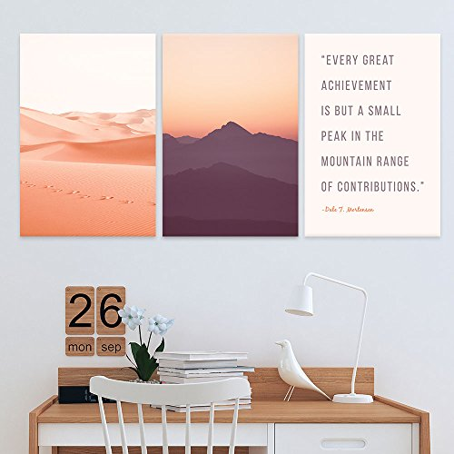 3 Panel Pink Desert and Sunset and Inspirational Quotes Gallery x 3 Panels