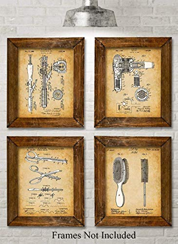 Antique Primitive Tool - Original Hair Styling Tools Patent Art Prints - Set of Four Photos (8x10) Unframed - Makes a Great Gift Under $20 for Hairstylists, Beauticians or Bathroom Decor