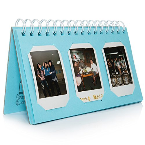 CAIUL Compatible Mini Book Album for Fujifilm Instax Mini 8 8+ 9 70 7s 25 26 50s 90 Film, Pringo P231, Instax Share SP-1 SP-2, Polaroid PIC-300 Z2300 Film (Blue, 60 Photos) (Two Mini Wedding Album)