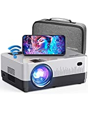 """$129 » DBPOWER WIFI Projector, 7500L Full HD 1080p Video Projector with Carry Case, Support iOS/Android Sync Screen, Zoom&Sleep Timer, 4.3"""" LCD Home Movie Projector Compatible w/Smart phone/Laptop/PS4/DVD/TV"""