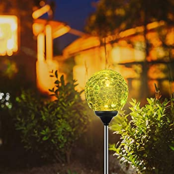 Solar Garden Lights Outdoor, 4-Pack of OxyLED Solar Globe Light Stakes, Color-Changing LED Garden Light Landscape Decorative Pathway Lighting, Auto On/Off Dusk to Dawn, Solar Powered Path Light