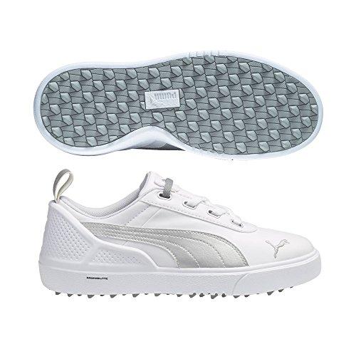 PUMA Golf Unisex Monolitemini (Little Kid/Big Kid) White/Silver Metallic Sneaker 6 Big Kid M (Shoes Puma Golf 2015)