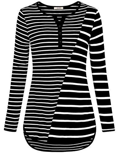 Stripe V-neck Tunic Top (Vivilli Henley Shirts For Women, Ladies Henley Loose Fit Tops V Neck Long Sleeve Tunics For Leggings Color Block Flattering Loose Knit Flowy Autumn Blouses Black White XXL)