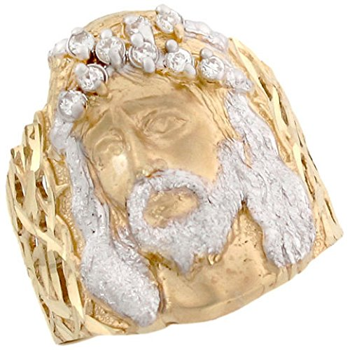 10k Two Tone Solid Gold Christian Religious Jesus CZ Large Mens Ring (Religious 10k Ring)