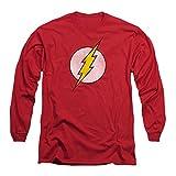 DC Comics Men's Flash Logo Distressed Long Sleeve Small Red