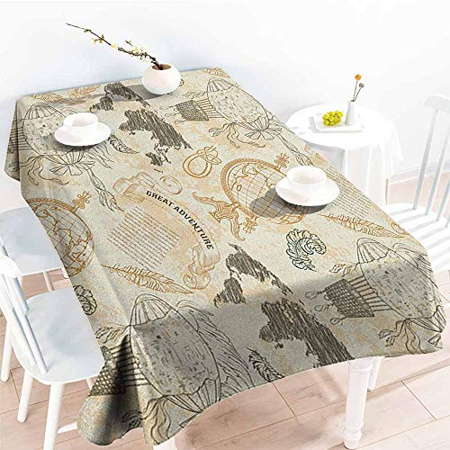 Rectangular Tablecloth,World Map Pattern with Vintage Globe World Map Airship Rope Knots Ribbon Retro Print,Resistant/Spill-Proof/Waterproof Table Cover,W54x72L Beige Olive Green ()