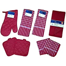 Red Kitchen Linen Bundle Package Oven Mitts (1) Pot Holder (2) Kitchen Towels (2) Terry Dish Cloths (2), Dish Drying Mat (1)