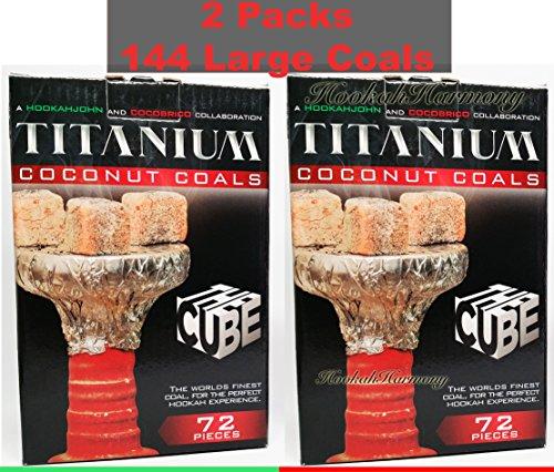 2 Boxes Extra Large Cube 72 Piece Titanium 100% Natural Coconut Coal Hookah Charcoal Shisha 2KG Box ()