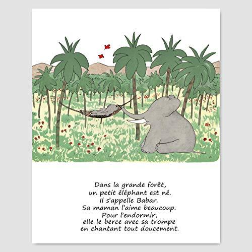 French Nursery Decor, Boys Room Art (Babar the Elephant, Baby Poem Wall Print)