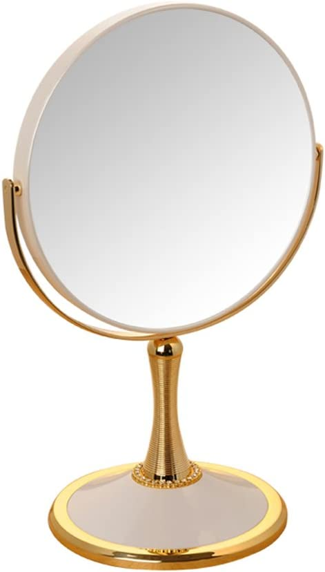 BOZHIJPD 5倍拡大鏡、両面化粧台ミラー360°回転ラウンド化粧鏡 化粧台、ホテル (Color : White, Size : 8 inches)