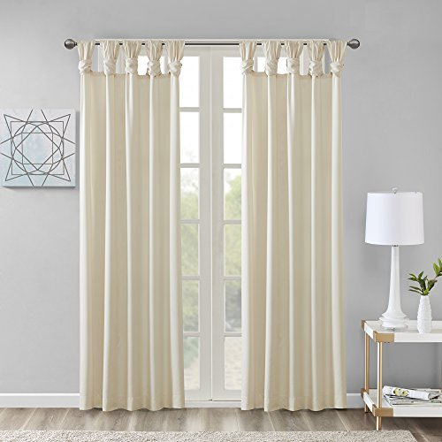 Comfort Spaces Ekko Microtwill DIY Twisted Tab Window Curtain Panel Pair, 50