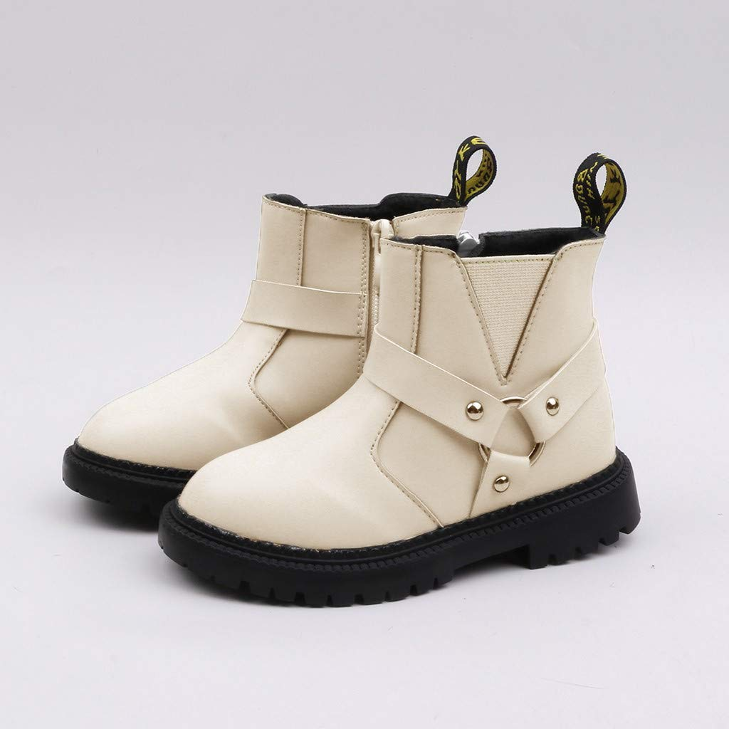 Brillanto Botas con Estilo Ingl/és Botines Ni/ñas Hebilla de Metal Botas de Cremallera Ni/ñas Invierno Zapatos Tallas 27-37
