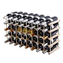 40 Bottle Wood Wine Rack 5 Tier Storage Display Shelves Kitchen Natural