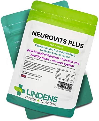 Lindens Neurovits Plus en comprimidos | 360 Paquete | Contiene vitaminas B1, B6, B12 y ácido fólico; contribuye al funcionamiento normal psicológico y a ...