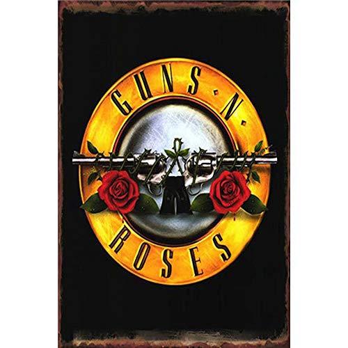 Roses Tin Sign - Easy Painter Roses Vintage Tin Signs Guns Metal Poster Wall Art Garage Hot Shop Bar Signs 20X30Cm
