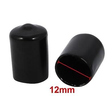 sourcing map 10pz 12mm diam interno flessibile PVC Tappo vinile filettatura vite coperchio protezione nero