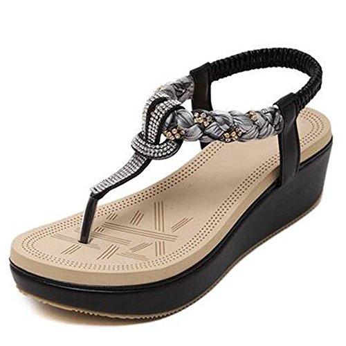 Amazing chanclas Estilo étnico diamantes de imitación sandalias de dedo del pie sandalias gruesas del dedo del pie con cordones sandalias de las mujeres (tamaño opcional) Casual ( Color : Beige , Tama Negro