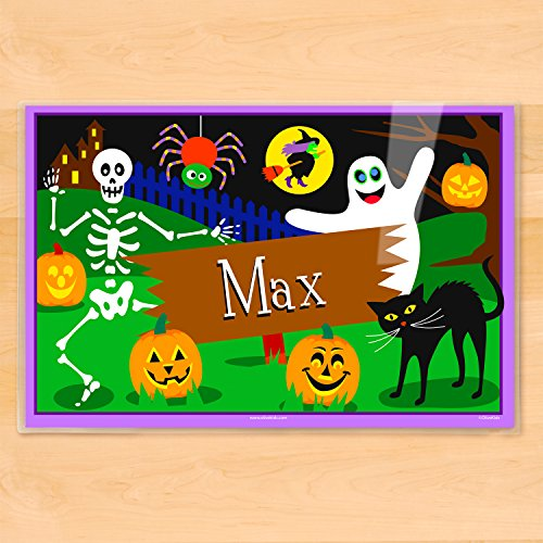 Olive Kids Personalized Halloween Ghostly Placemat ()