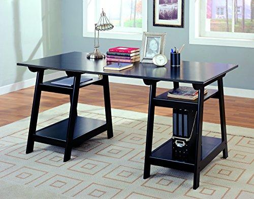 Compact Double Pedestal Desk (Coaster Casual Black Double Pedestal Writing Desk with Open Shelves)