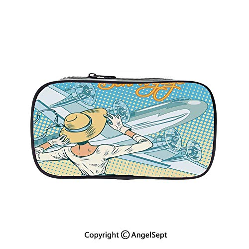 Cute Pencil Case - High Capacity,Retro Lady Escorts Aircraft Pop Art Style Travel Comic Light Blue Yellow 5.1inches,Multifunction Cosmetic Makeup Bag,Perfect Holder for Pencils and Pens]()