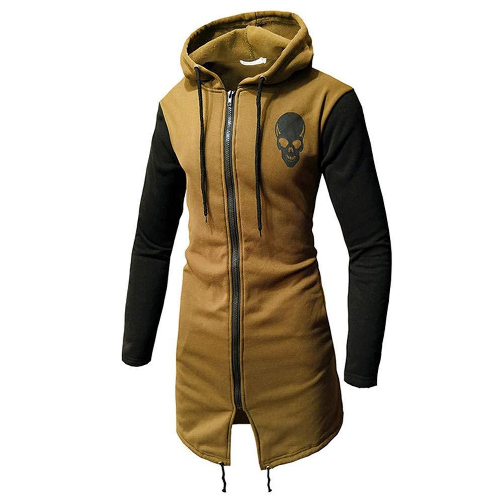 SMALLE ◕‿◕ Clearance, Men's Autumn Winter Casual Skull Print Zipper Long Sleeve Top Blouse Jacket Coat