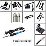 Toyofmine 4-in-1 Soldering Iron Kit with Adjustable Temperature Soldering Iron & Stand & Solder Sucker &5pcs Different Tips (1 pcs Soldering Iron)