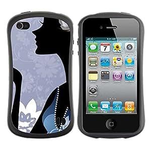 "Hypernova Slim Fit Dual Barniz Protector Caso Case Funda Para Apple iPhone 4 / iPhone 4S [Minimalista Abstracto Azul Moda""]"