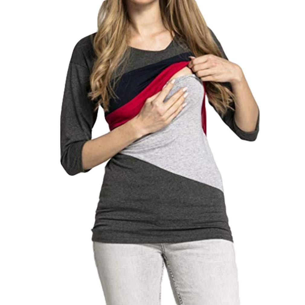 Yying Umstandsmode F/ütterung Tops Schwangere Frauen Casual Langarm T-Shirts Elegante Pflege Tees