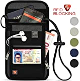 Lewis N. Clark RFID Blocking Stash Neck Wallet, Travel Pouch + Passport Holder for Women & Men, Black