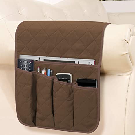 Details about  /USEFUL-Sofa Arm Rest Organizer 5 Pocket Couch Tray Remote Control Holder Table
